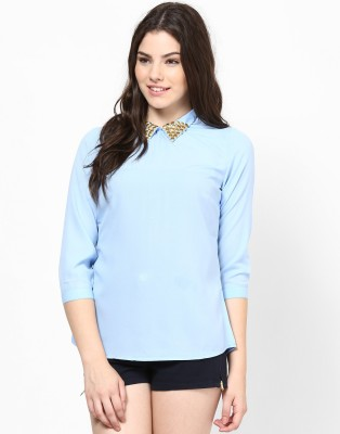 Kaxiaa Casual 3/4 Sleeve Solid Women's Light Blue Top