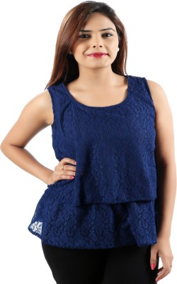 Awesome Party Sleeveless Self Design Women's Dark Blue Top