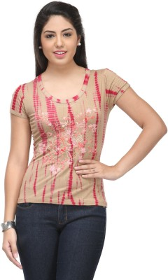Cappadocia Casual Short Sleeve Self Design Women's Multicolor Top