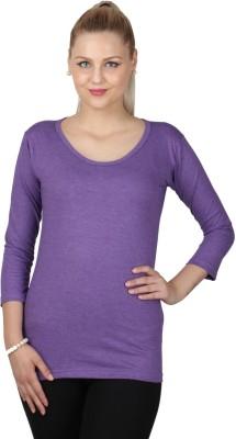 SayItLoud Casual 3/4 Sleeve Solid Women,s Purple Top