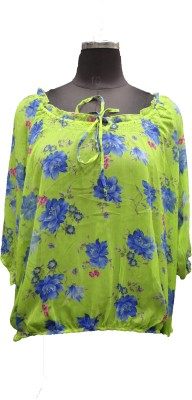 V.K TRADERS Casual 3/4 Sleeve Floral Print Women's Yellow Top