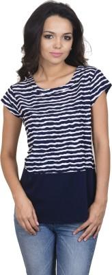 Antilia Femme Casual Cape Sleeve Striped Women's Blue Top