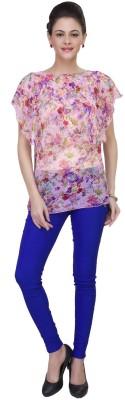 IshinDesignerStudio Casual Cape Sleeve Solid Women's Pink Top