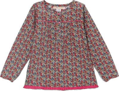 Textures Fashion Casual, Party, Formal, Beach Wear Full Sleeve Floral Print Girl's Multicolor Top