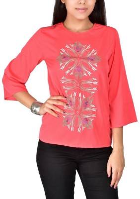 Palette Casual 3/4 Sleeve Embroidered Women's Pink Top