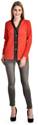 PINK SISLY Casual Full Sleeve Solid Women's Black, Red Top