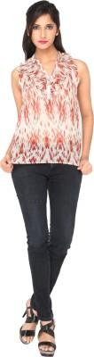 AATMIK Casual Sleeveless Printed Women's Beige Top