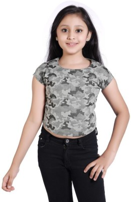 Just Clothes Party Sleeveless Printed Girl's Black Top