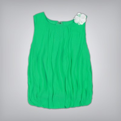 Palm Tree Casual Sleeveless Solid Girl's Green Top
