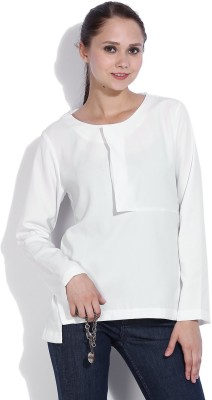 Vanheusen Casual Full Sleeve Solid Womens White Top