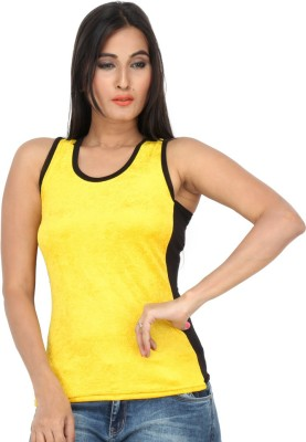 Dovekie Casual Sleeveless Self Design Women's Yellow, Black Top