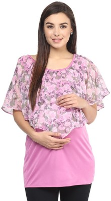 Mine4Nine Casual Sleeveless Floral Print Women's Pink Top