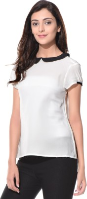 Uptownie Lite Casual Short Sleeve Solid Women's White Top