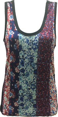 Dovekie Casual Sleeveless Printed Women's Multicolor Top