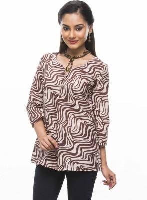 Moda Vastra Casual 3/4 Sleeve Graphic Print Women's Pink, Brown Top