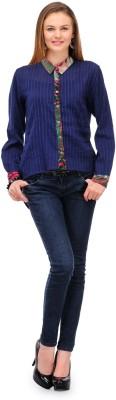 1OAK Casual Full Sleeve Solid Women's Blue Top