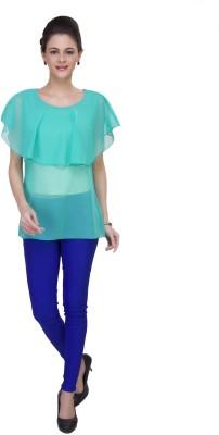 IshinDesignerStudio Casual Cape Sleeve Solid Women's Green Top