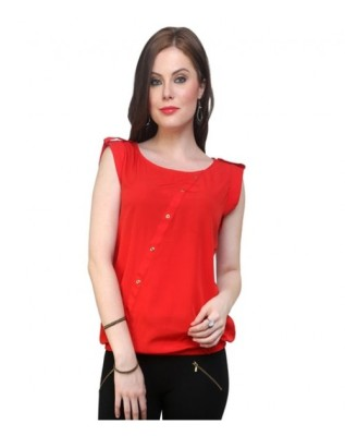 Look-N-Like Party, Casual, Festive Sleeveless Solid Girl,s Red Top