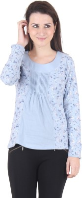 SS Casual Full Sleeve Floral Print Women's Light Blue Top
