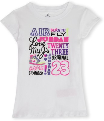 Jordan Kids Casual Short Sleeve Graphic Print Girl's White Top