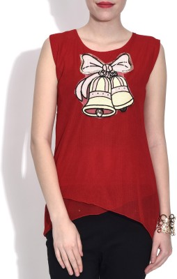 London Off Casual Sleeveless Applique Women's Red Top