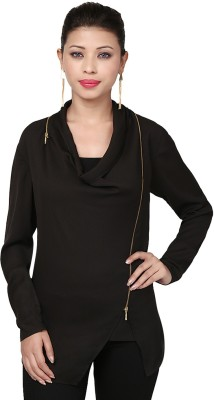 Threesome Casual Full Sleeve Solid Women's Black Top
