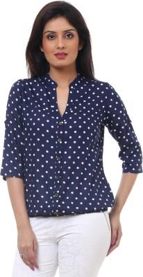 Lynda Casual 3/4 Sleeve Polka Print Women's Blue, White Top