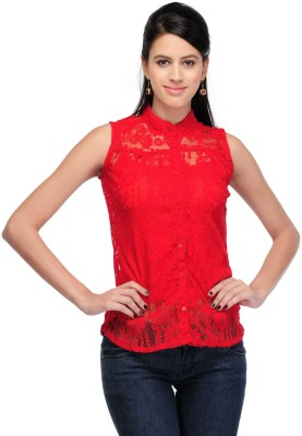 Fashion Hut Casual Sleeveless Embroidered Women's Red Top
