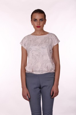 Baba Rancho Casual Short Sleeve Printed Women's Pink Top