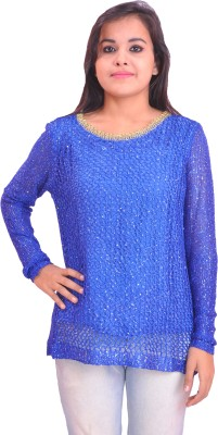 Krazzy Collection Party Full Sleeve Solid Women's Blue Top