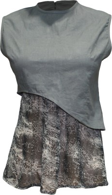 Attuendo Party Sleeveless Animal Print Women's Grey Top