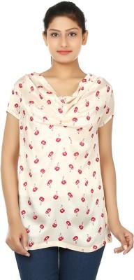 Ur Sense Casual Short Sleeve Printed Women's White, Red Top