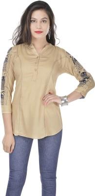 Artisan Creation Casual 3/4 Sleeve Solid Women's Beige Top