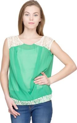 Latin Quarters Casual Sleeveless Self Design Women,s Green Top