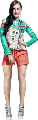 khushali Party Full Sleeve Self Design, Printed Women's Multicolor Top