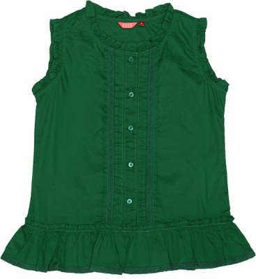 Elle Casual Sleeveless Solid Girl's Green Top