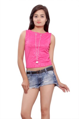 Maya Apparels Party Sleeveless Self Design Women's Pink Top