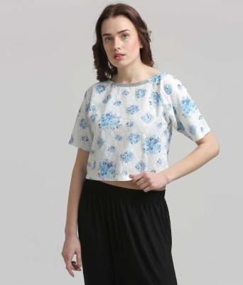 Moda Elementi Casual Short Sleeve Printed Women's White Top