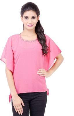 Pear Blossom Casual Short Sleeve Solid Women's Pink Top