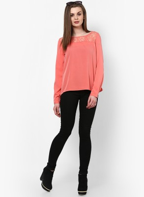 Only Casual Full Sleeve Solid Women's Orange Top at flipkart
