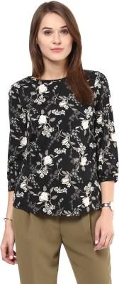 AROVI Casual 3/4 Sleeve Floral Print Women's Black, White Top