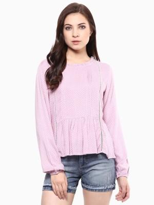 American Swan Casual Full Sleeve Printed Women's Pink Top