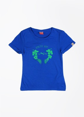 Puma Casual Short Sleeve Printed Girl's Blue Top