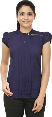 Jappshop Casual Petal sleeve Solid Women's Blue Top