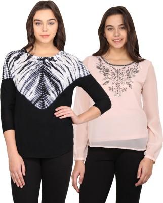 Nordic Bazaar Casual Full Sleeve, 3/4 Sleeve Embroidered, Printed Women's Black, Pink Top