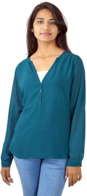 Shop Avenue Casual Full Sleeve Solid Women's Green Top
