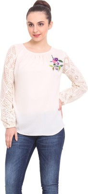 RSVP Cross Casual Full Sleeve Solid Women's White Top