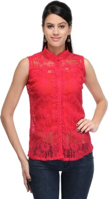 Fashion Hut Casual Sleeveless Embroidered Women's Pink Top