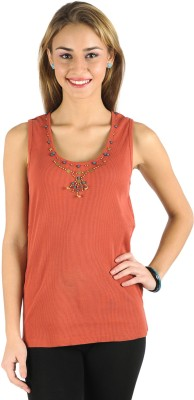 Butterfly Wears Casual Sleeveless Solid Women's Brown Top
