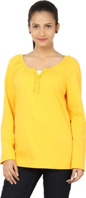 Bajo Casual Full Sleeve Solid Women's Yellow Top